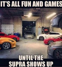 It's all fun and games Until the Supra shows up Ford Memes, Truck Memes, Funny Car Memes, Truck Quotes, Car Jokes, Car Humor, My Dream Car, Dream Cars, Toyota Supra Mk4