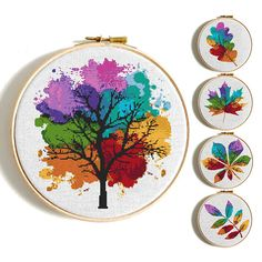 Four Seasons Cross stitch pattern Watercolor Art Rainbow cross stitch Tree Counted cross stitch Modern Embroidery Hoop Art Silhouette leaves Cactus Cross Stitch, Cross Stitch Tree, Cross Stitch Heart, Simple Cross Stitch, Easy Cross, Embroidery Hearts, Embroidery Hoop Art, Cross Stitch Embroidery, Embroidery Patterns