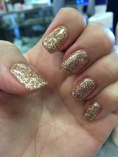 Gold Glitter Elegance Gel Acrylic Nails Senior Prom