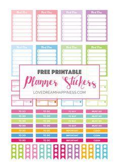 Free printable functional planner stickers for your Erin Condren Planner, Kikki…
