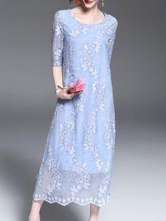 Shop Midi Dresses - Blue Crew Neck A-line 3/4 Sleeve Midi Dress online. Discover unique designers fashion at StyleWe.com.