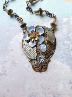 Steampunk Flower Necklace - Steampunk Enamel Flowers in Lavender with Watch Gears - Lavandula Dream. $96.00, via Etsy.