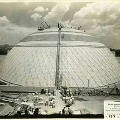 Timeline Tuesday 07/17/2012: 1932: The original covering for the Union Terminal dome is put into place.This dome, designed by the Atlantic Terracotta Tile Company, was a bit of an experiment. Unfortunately, the dome suffered from design issues and had to be replaced in 1945 with the current aluminum covering you see here today. #CincyMuseum #TimelineTuesday #dome #architecture #artdeco #building #museum #cincinnati #UnionTerminal