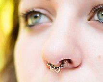 Tribal Septum Ring for pierced nose brass/ silver/ gold plated. septum piercing. silver septum ring. tribal septum ring. tribal septum.