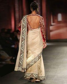 Ivory Sari with Embroidered Maroon Jacket