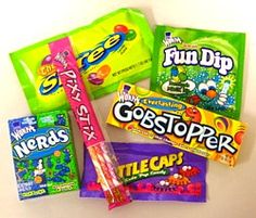 Willy Wonka Bottlecaps, Everlasting Gobstopper, Fun Dip and Fun Dip Sour, Nerds, Pixy Stix, Runts, Spree (Original), Sweetarts (regular) free of wheat/gluten, milk, tree nuts, peanuts, egg & soy. Made in a facility that also processes wheat and egg.