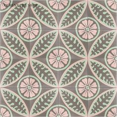 Cement Tile Shop - Encaustic Cement Tile Alpine Rose,, customize to any color
