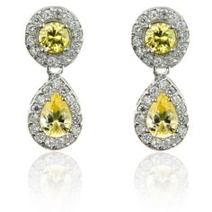 Dolce Giavonna Silver Overlay Yellow and White CZ Dangle Earrings (Yellow and White)