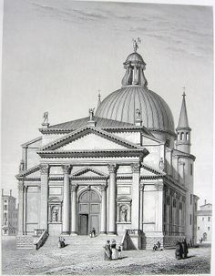 The Basilica of 'Redentore' by Andrea Palladio, Venice, in a XIX c. print