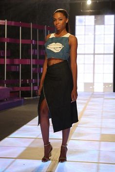 Project Runway Threads: Episode 1  | Recreate the winning look from Bradford | Denim Crop Top and Midi Skirt | Find fabric from @joannstores