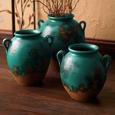 5584532501: Turquoise Clay Pots-Set/3