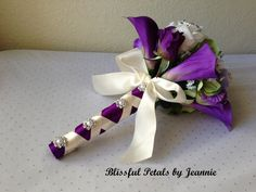 Rose Wedding Bouquet Purple Wedding Bouquet by BlissfulPetals, $120.00