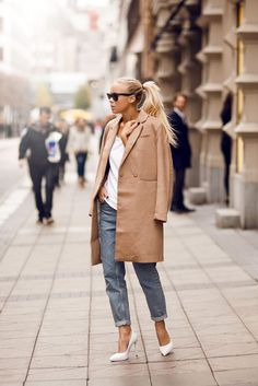 Blue Denim + Camel Coat