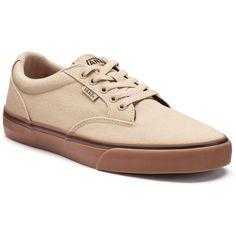 Vans Winston Men's Skate Shoes ($50) ❤ liked on Polyvore featuring men's fashion, men's shoes, men's sneakers, dark beige, mens sneakers, mens canvas shoes, mens lace up shoes, mens skate shoes and vans mens shoes