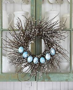 pussy willow/egg welcome wreath