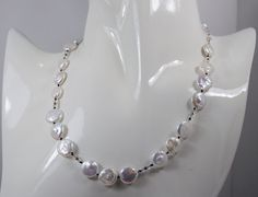 Hand Knotted Coin Pearl Necklace by MithrilDreams on Etsy, $75.00