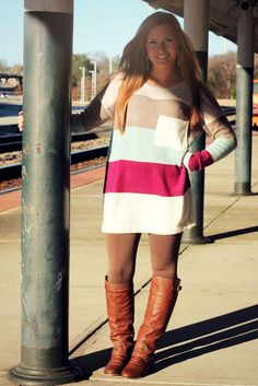 Striped Sweater: Maroon/Taupe