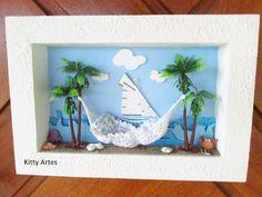 Quadro decorativo - Tema PRAIA, fundo em papel de scrap importado, com várias tonalidades de azul ( imitando o mar), aplicação de barco ( em papel ), importado, miniatura de coqueiro , rede de crochê feito à mão, miniaturas em madeira de polvo, caranguejo e conchinhas do mar. <br> <br>Produto totalmente artesanal, podendo haver alguma alteração de adereços ou fundo. <br> <br>Para comprar: <br>1 - Cadastre-se e entre com seu usuário e senha. <br>2 - Selecione os produtos desejados. <br>3…