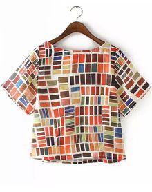 Multicolor Short Sleeve Geometric Print Blouse