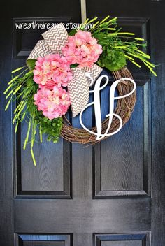 Light Pink Hydrangea Grapevine Wreath with Chevron by WreathDreams