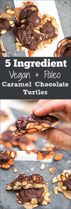 Simplified 15 minute healthier paleo + vegan caramel chocolate turtles made with only five ingredients. Gluten Free and Refined Sugar Free. Perfect for the holidays or any time you're craving a crunchy sweet salty treat! Vegan Dessert Recipes, Vegan Sweets, Gluten Free Desserts, Candy Recipes, Fun Desserts, Real Food Recipes, Delicious Desserts, Fish Recipes, Healthy Recipes