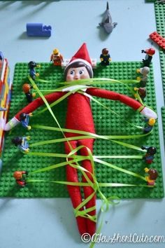A fun Elf on the Shelf idea for the lego fans in your life. Check out this fun Lego Revolution Elf on th Shelf Idea and see how tangled up the elf gets. All Things Christmas, Christmas Holidays, Christmas Crafts, Merry Christmas, Hygge Christmas, Christmas Presents, Christmas Stockings, Christmas Ideas, Christmas Decorations
