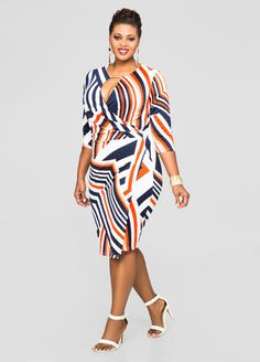 Multi Stripe Keyhole Wrap Dress
