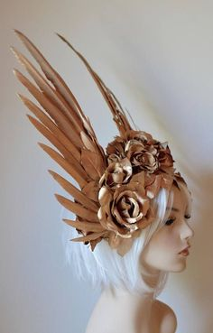 Gold Wings & Roses Headdress Made to order: goddess angel wedding crown costume wings roses cosplay party burning man angel ascot Burning Man, Mode Inspiration, Character Inspiration, Character Design, Ascot, Mode Steampunk, Goddess Costume, Gold Feathers, Fantasy Costumes