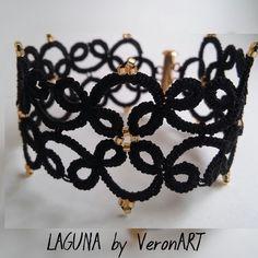 LAGUNA fekete hajócsipke karkötő arany gyöngyökkel, horgolt, Ékszer, óra, Esküvő, Karkötő, Esküvői ékszer, Meska My Works, Tatting, My Love, Black, Jewelry, Fashion, Jewlery, Moda, Black People