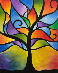 Ideas for painting abstract acrylic diy canvas ideas Easy Landscape Paintings, Simple Canvas Paintings, Easy Canvas Painting, Painting & Drawing, Abstract Tree Painting, Colorful Abstract Art, Diy Painting, Art Drawings Sketches Simple, Abstract Drawings