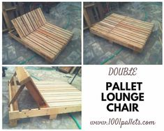 Great double lounge chair made out of repurposed pallets.