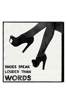 """Free shipping and returns on Oliver Gal 'Shoes Speak Louder than Words' Wall Art at Nordstrom.com. A vintage-look canvas printed with the assertion """"Shoes speak louder than words"""" is hand stretched over a sustainably harvested, FSC-certified wood frame. A limited open edition with a certificate of authenticity by the artist, it comes ready to hang with all hardware included."""