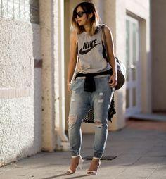 ღlechic   Nike Vest + Drop Crotch Jeans