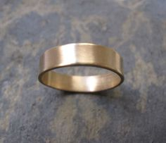 Men's satin finish thick gold band ring - handmade gold ring - men's gold ring - simple gold ring - London wedding rings