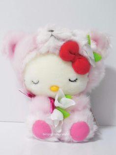 Sanrio Region Hokkaido Limited Pink Sleeping Bear Hello Kitty Plush