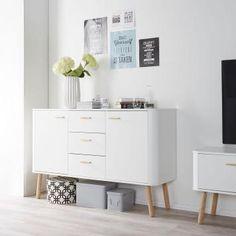 Sideboard Pilara - Eiche teilmassiv - Eiche / Weiß