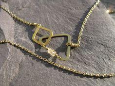 Minimal Geometric : silver brass copper jewellery - Elements, triangle and square interlock, geometric golden brass necklace,