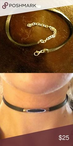 Black suede choker with silver cut out bar Black suede choker with silver cut out bar in Center. Adjustable Sizer to fit all. Handcrafted in Juneau, Alaska. Next day shipping! Jewelry Necklaces