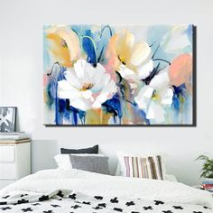 Modern Watercolor Flowers Wall Painting Hand Painted Poppy Flowers Print on Canvas Wall Picture For Living Room Home Decor Gift - Aquarell Malen Canvas Poster, Poster Prints, Canvas Art, Canvas Prints, Canvas Paintings, Hanging Paintings, Floral Wall Art, Living Room Pictures, Flower Wall
