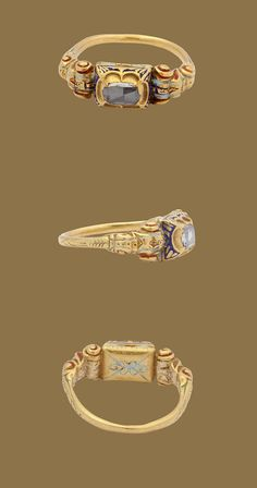 This beautiful and substantial Renaissance diamond ring bears much of its original enamel in red, green, and blue. The rectangular box bezel holds a large rose cut stone that literally sparkles. Especially on the shoulders, the virtuoso Renaissance goldsmith work is technically quite skillful. Already in the 15th century diamonds were associated with betrothal and marriage. Italy?, c. 1600