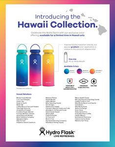 *i ❤️ all colors! You can buy on greenteahawaiistore.com but shipping takes awhile. I couldn't pin that link....  hydro flask, hydroflask, hawaii collection, hydro flask hawaii collection, flask, water, moana, anuenue, pomaikai, 40oz flask, wide mouth flask,