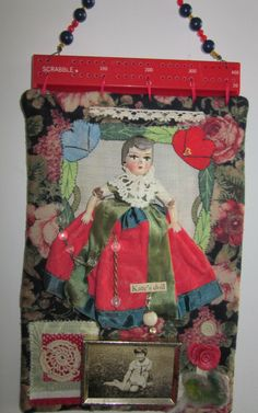Katie's doll...Fabric Assemblage Altered Collage by stillwillows, $18.00