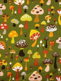Q60 Mushrooms Toad Stool Cute Forest Retro Mod Cotton Fabric Quilt Fabric