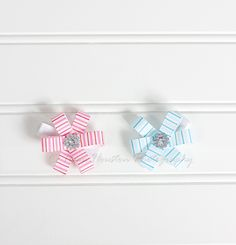 Flower Hair Clips, Pink and Blue Stripes- Set of 2, Toma's Tutus and Things