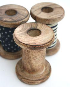 Wooden Ribbon Spools (Set of 3)