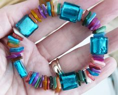 Multicoloured shell Bracelet by JellyGiraffe Handmade Jewellery