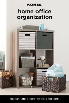 Life always feels a little less chaotic when you're organized. A simple way to help manage clutter in your space: Storage units! With a variety of baskets and crates, you can easily stow away extra office supplies and anything else you want to keep out of Home Office Design, Home Office Decor, Interior Design Living Room, Home Decor, Ikea Hacks, Office Supply Organization, Organization Ideas, Organizing, Home Office Furniture