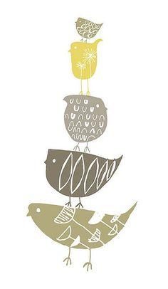 Stack of birds illustration. Bird Art, Bird Feathers, Beautiful Birds, Printmaking, Screen Printing, Art Projects, Illustrator, Illustration Art, Artwork