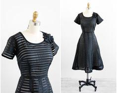 vintage 1950s plus size dress / 50s dress / Black by RococoVintage