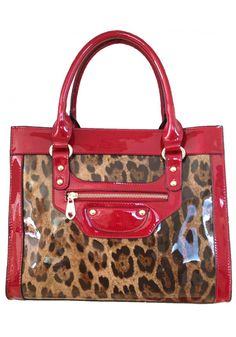 Sylvie Rousselle -- Women's Stylish Red Patent Leather Handbag with Leopard Pattern